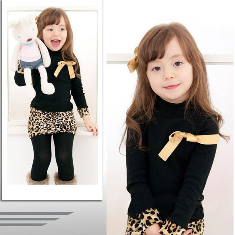 Baby Girl Long Sleeved Dress 2017 Autumn Winter Sweet Children Clothing Leopard Patchwork Warm Dresses Kids Girls Print Costume he hello enjoy baby girl clothes sets autumn winter long sleeved cartoon thick warm jacket skirt pants 2pcs suit baby clothing
