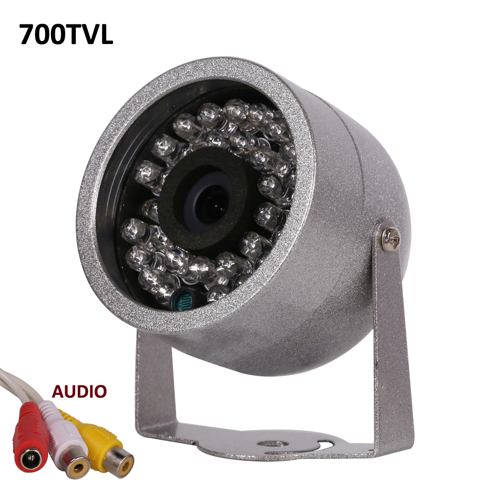 CMOS 700TVL With Audio surveillance 30 LED night vision Security Outdoor Color metal shell Waterproof font