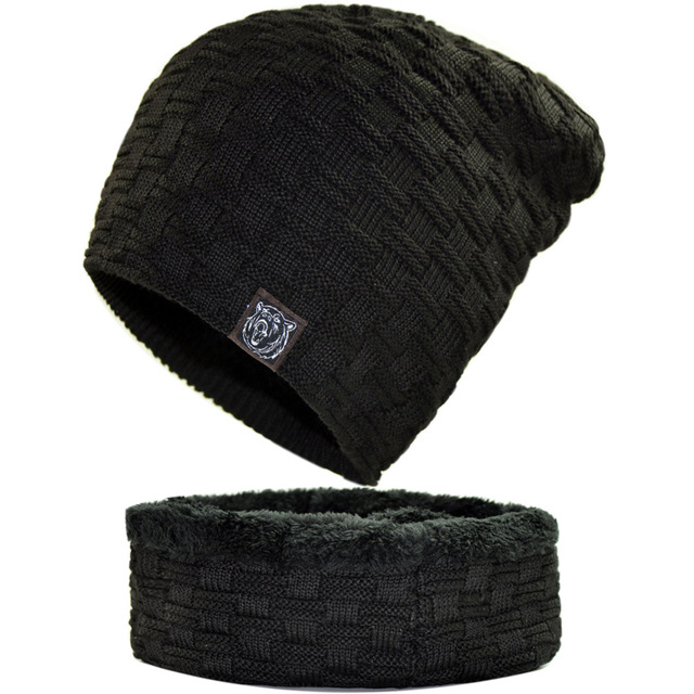 16069154f US $9.79 30% OFF|Nanci si Men's Plaid Fleece Lined Thermal Winter Knitted  Hats Oversized Baggy Slouchy Beanies Skullies Navy Black Gray Red Cap-in ...