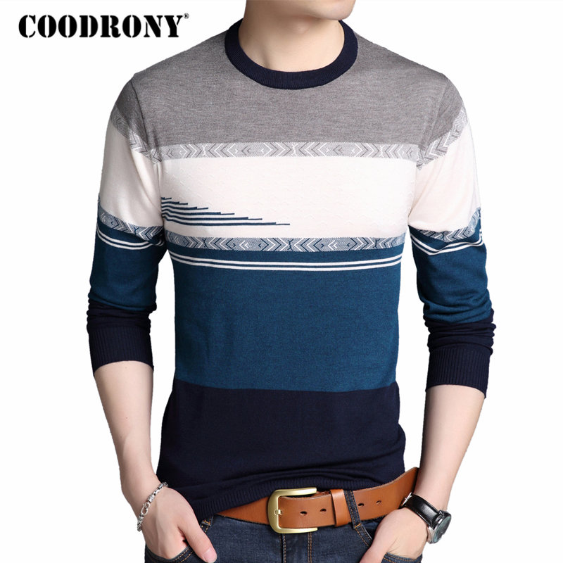 COODRONY Men Sweater Casual Striped O-Neck Pullover Men Clothes 2018 Autumn Winter New Arrival Mens Sweaters Top Pull Homme 8196