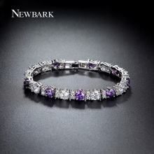 NEWBARK Charm Bracelet Purple / Clear 0.5ct Round With Wide 6mm CZ Stones White Gold Plated Luxury 4 Prong Setting Women Jewelry