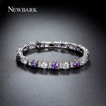 NEWBARK Charm Bracelet Purple Clear 0 5ct Round With Wide 6mm CZ Stones White Gold Plated