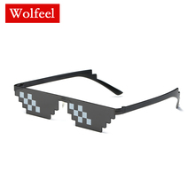 Thug Life Deal with It Sunglasses Men Glasses Women Hot Sell Sun Olygonal 8 Bits Style Pixel Nose Pad 2019