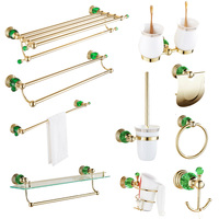 European gold green crystal wall mounted towel bars copper set double glass selves bathroom hardware pendant bathroom sets