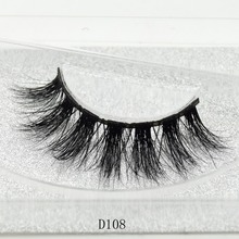 100% Handmade Eye Lashes 3D Real Mink Makeup Thick Fake False Eyelashes With Glitter Packing D108(China)