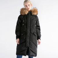 Down Jacket Winter Jacket Women Natural Large Real Fur Collar Hooded Warm Thick Outwear Female 90% Duck Down Coat RE0111