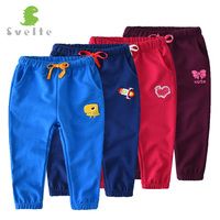 SVELTE Kids Boys Girls Harem Casual Candy Color Cotton Pants Trousers with Embroidery Cartoon Pattern for 2-8Y Cute Children