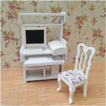 G07-X455 children gift Toy 1:12 Dollhouse mini Furniture Miniature rement Doll accessories Computer desk and chair set