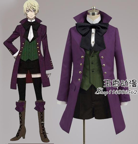 Black Butler Alois Trancy cosplay costume purple coat+shirt+vest+bowknot+pants full suit formal party cloth halloween costume fluffy cosplay halloween party cat faux fox fur ears costume hairpin hairband black white purple leopard black