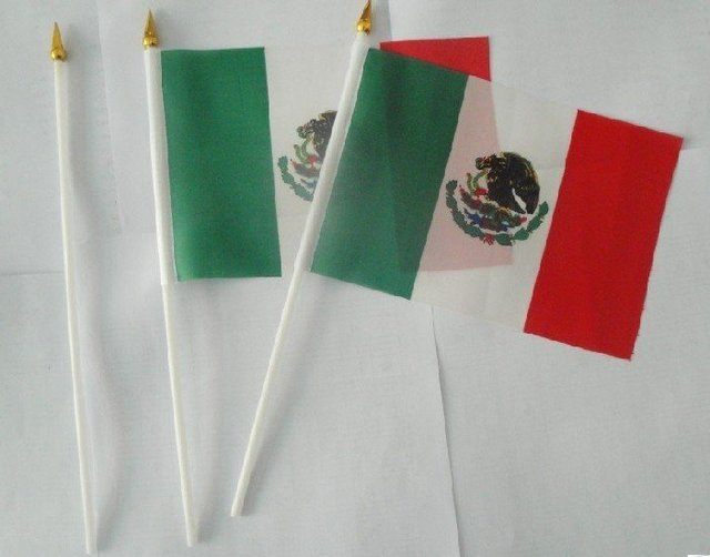 Mexican  flag  14 * 21cm hand flag 500 psc /lot