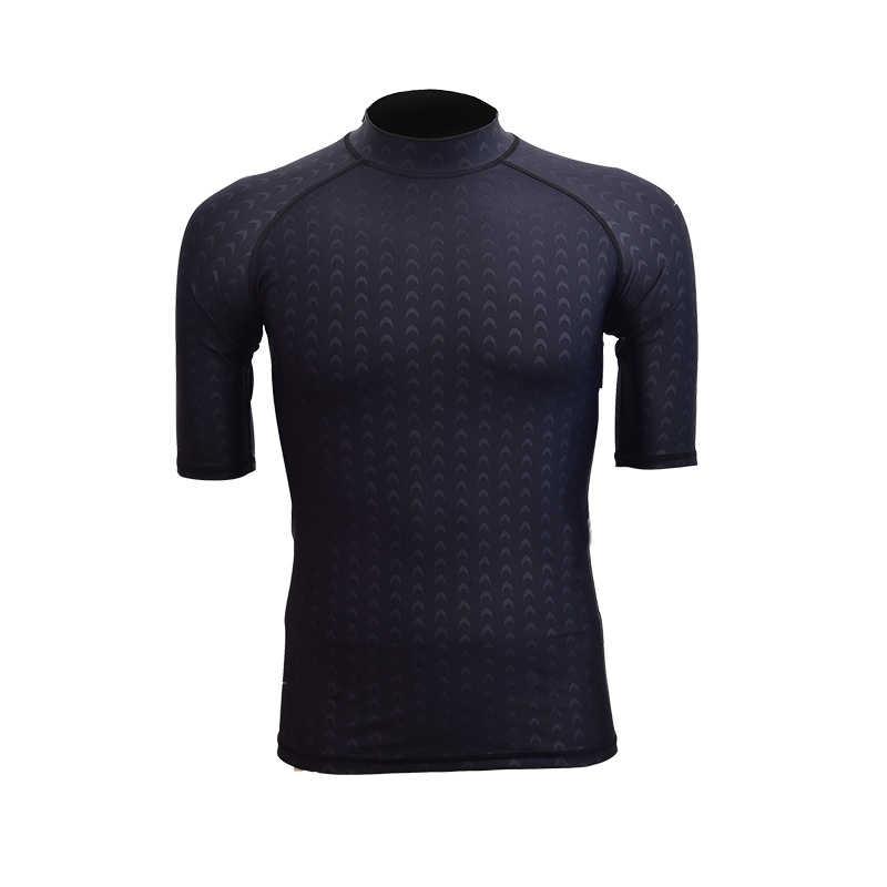 عالية مرونة الرجال النساء بذلة قصيرة الأكمام فوق البنفسجية حماية السباحة قمصان بدلة غطس الأسود تصفح الاندفاع الحرس XXXL