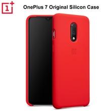 OnePlus 7 ซิลิโคน 100% อย่างเป็นทางการปกสีแดง ONE PLUS 7 Coque Oneplus7 Funda OnePlus เจ็ด