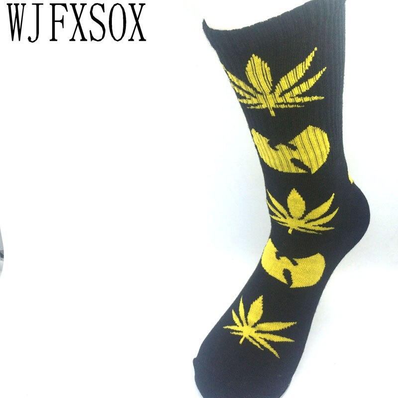 WJFXSOX Unisex Harajuku Wu Tang Clan Weed Bat Long Socks Street Wear Skateboard Fixed Gear Casual Men Women Socks Male Meia
