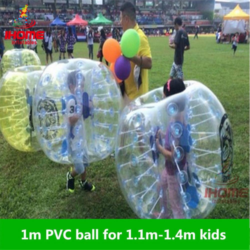1 მ PVC გასაბერი ბუშტი ფეხბურთის ფეხბურთის ბურთი ბავშვებისთვის, Zorb Ball, გასაბერი ადამიანის ზაზუნა ბურთი, ბამპერის ბურთი bola de futebol