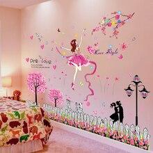 [shijuekongjian] Cartoon Girl Dancer Wall Stickers Vinyl DIY Trees Flowers Mural Decals for Kids Rooms Baby Bedroom Decoration
