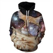 Cat Glasses Sweatshirt Printed 3D Hoodies Women Men 3d Hooded Zipper Outerwear Galaxy Tops