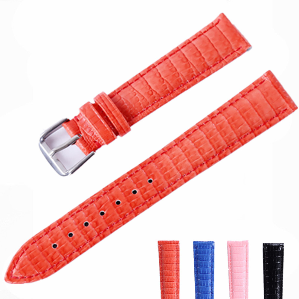 Red Lizard Grain 12 14 16 18 20 22mm Genuine Cowhide Leather Watch Band Strap Bright Surface Watchbands Watches Belt Accessories