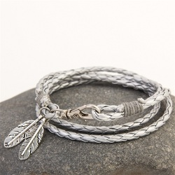 Mdiger fashion jewelry pu leather bracelets charm gift bangles multilayer feather bracelet accessories wedding men jewelry.jpg 250x250