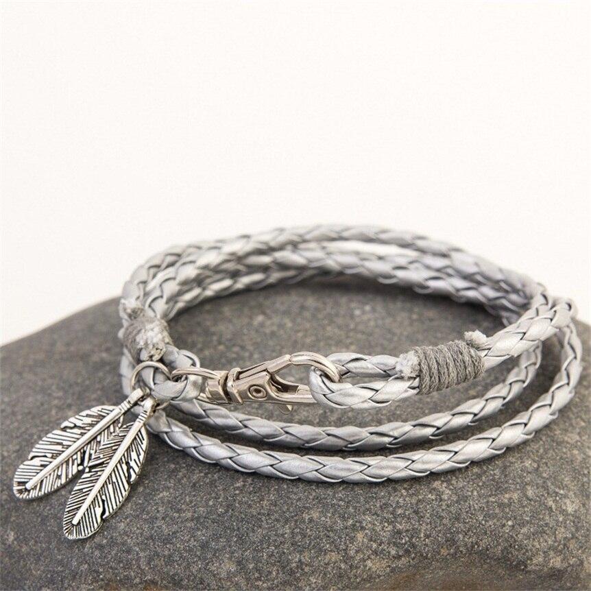 61ed48b85 Mdiger Fashion Jewelry PU Leather Bracelets Charm Gift Bangles Multilayer  Feather Bracelet Accessories Wedding Men Jewelry