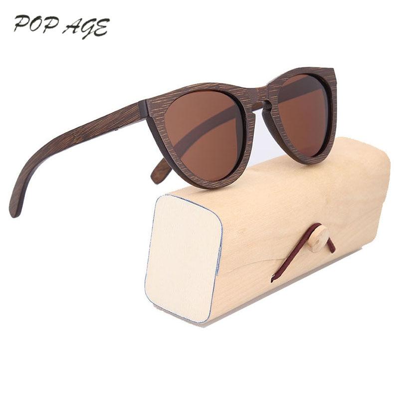 POP AGE Muškarci Brand Dizajner sunčanih naočala Smeđe bambusove - Pribor za odjeću