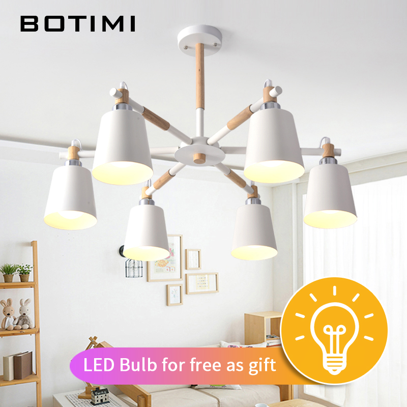 Image 2 - BOTIMI Lustre Solid Wood Chandelier For Living Room Iron Lampshade LED Chandelier Lighting Lustres Para Sala De Jantar Home Lamp-in Chandeliers from Lights & Lighting