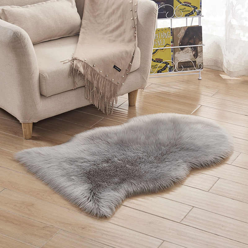 Urijk 1pc Soft Artificial Sheepskin Rug Carpet Chair Cover Artificial Wool Warm Hairy Carpets For Living Room Skin Fur Area Rugs