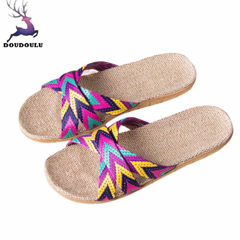 96a3581a229cd Женские тапочки, Нескользящие льняные домашние летние туфли на плоской  подошве с открытым носком, новинка