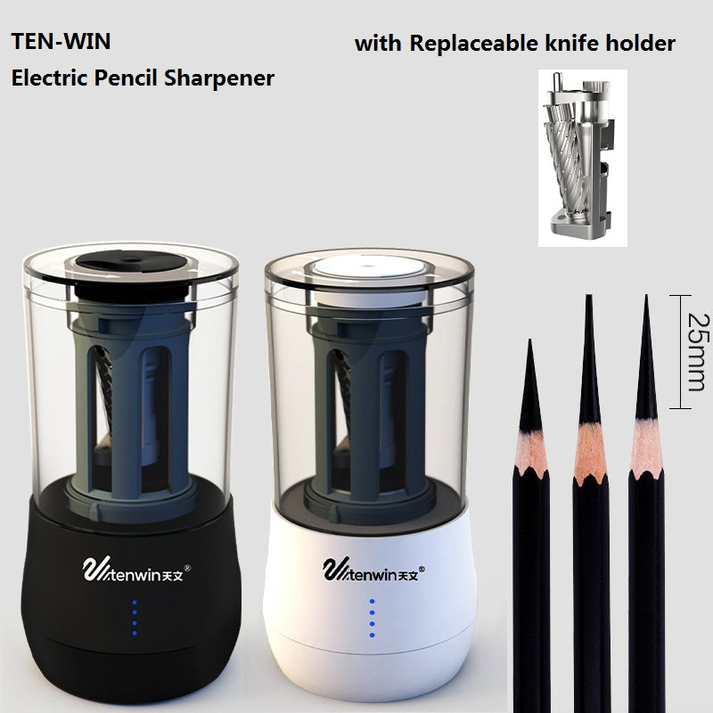 все цены на TEN-WIN Electric Pencil Sharpener with Replaceable knife Dual Purpose Automatic Art Learning Sketch Pencil Electronic Sharpener