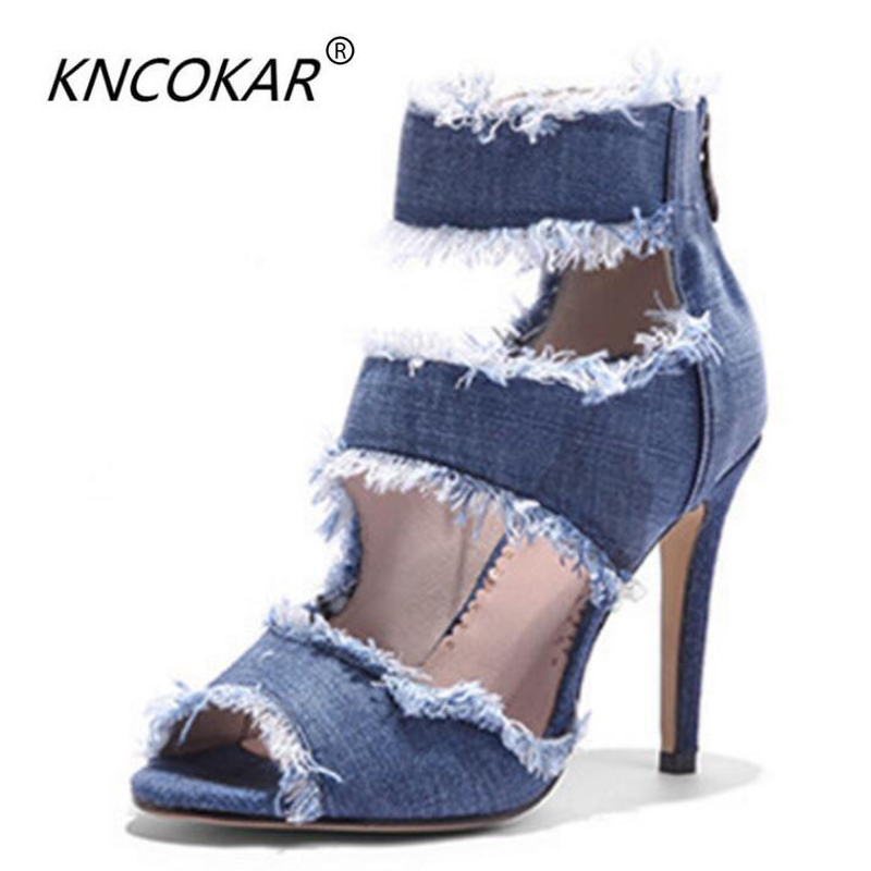 KNCOKAR2018The summer new sexy high heels with the fish-mouth style sandals high heels with cowboy fashion show hollowed-out boo 14cm thick with super high heels summer new sexy nightclub roman style fish head waterproof sandals women