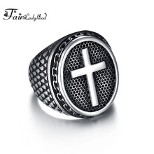 FairLadyHood Vintage Punk Rock Christian Religion Cross Ring 316L Stainless Steel For Men Father Jewelry Gift