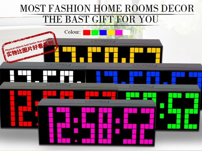 Kosda LED 3D Wall Clock Digital Table Alarm Modern Design Electronic Stopwatch Fashion Desk Timer Thermometer Nightlight