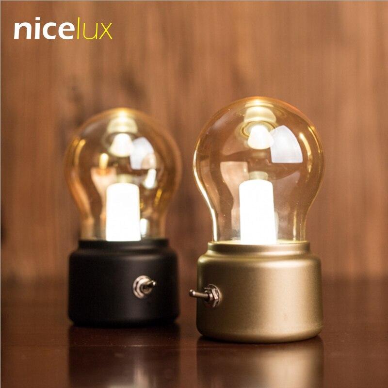 Vindima Lâmpada LED Night Light USB Retro 5 v Bateria Recarregável Humor Lâmpada Escrivaninha Mesa Luminária Luzes de Cabeceira Portátil