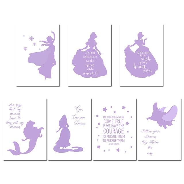 cartoon princess canvas poster cute nursery quote wall art print