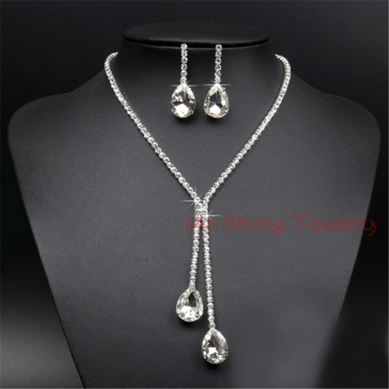 Crystal Teardrop Long Necklace Earrings Set Silver Color Wedding Bridal Bridesmaid Formal Party Prom Jewelry Set For Women