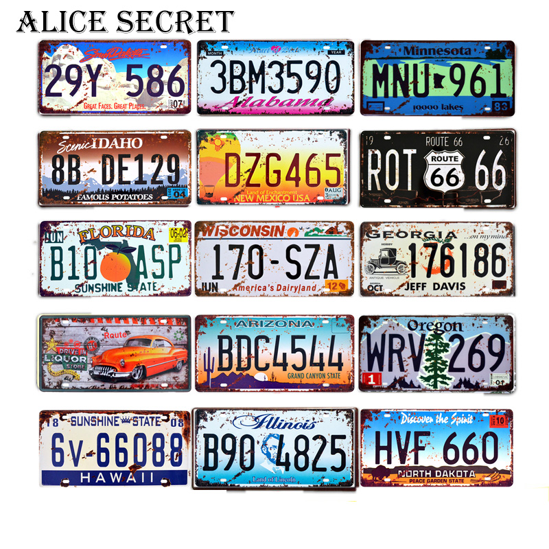 Vintage USA Route 66 Metal Tin Sign Car Number License Metal Plate Plaque Poster Signs For Home Bar Club Garage Decoration