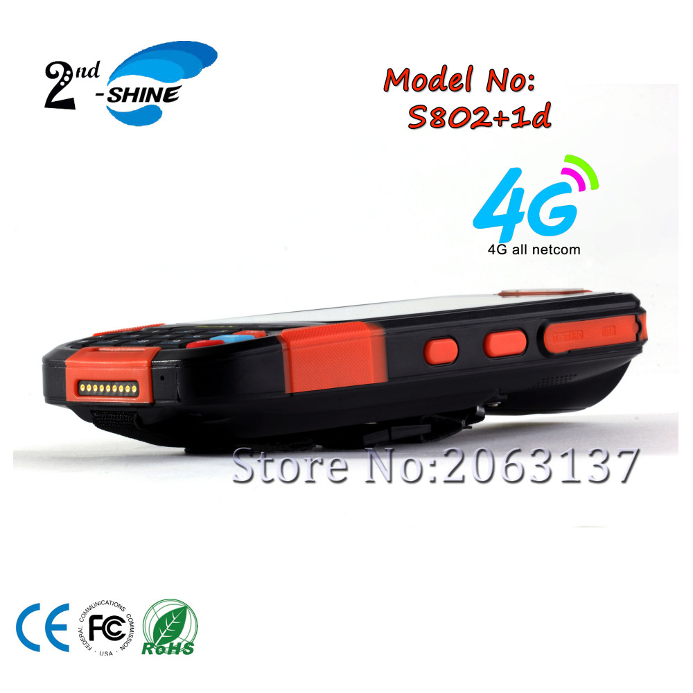 2-shine S802-1D handheld Android industrial mobile terminal PDA reader with 4G,GPS,Bluetooth 2G RAM and 16G ROM