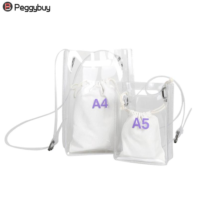 2018 Summer Beach Bag Clear Bag Women Handbag Small Flap Transparent PVC Plastic Gift Cute composite Messenger Shopping Bag
