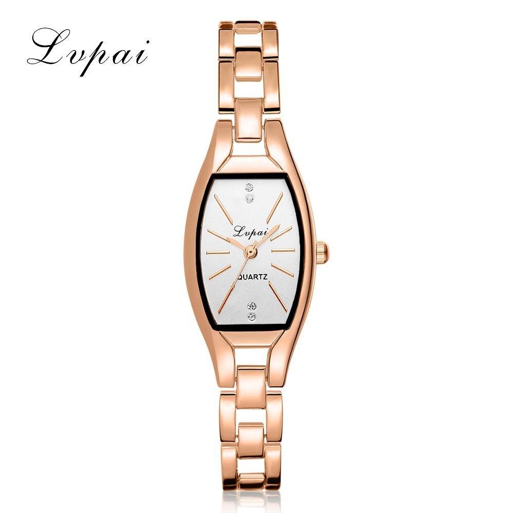 LVPAI Fashion Ladies Women Unisex Stainless Steel Rhinestone Quartz Wrist Watch 40p women Simple watches men 3