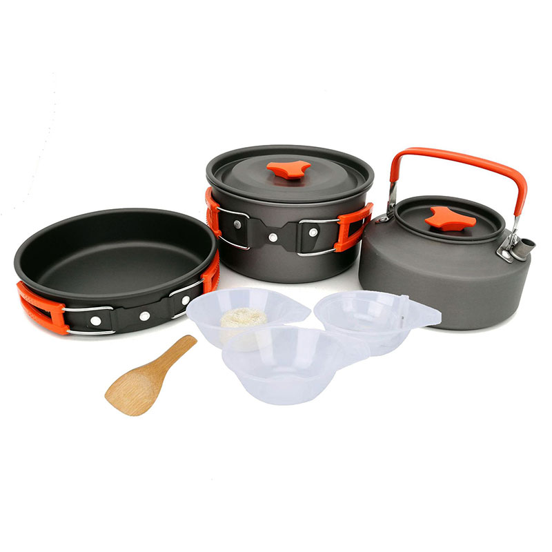 VILEAD New Outdoor Camping Set Pot Teapot Combination 2 3 People Pot With Tableware Bowl Soup