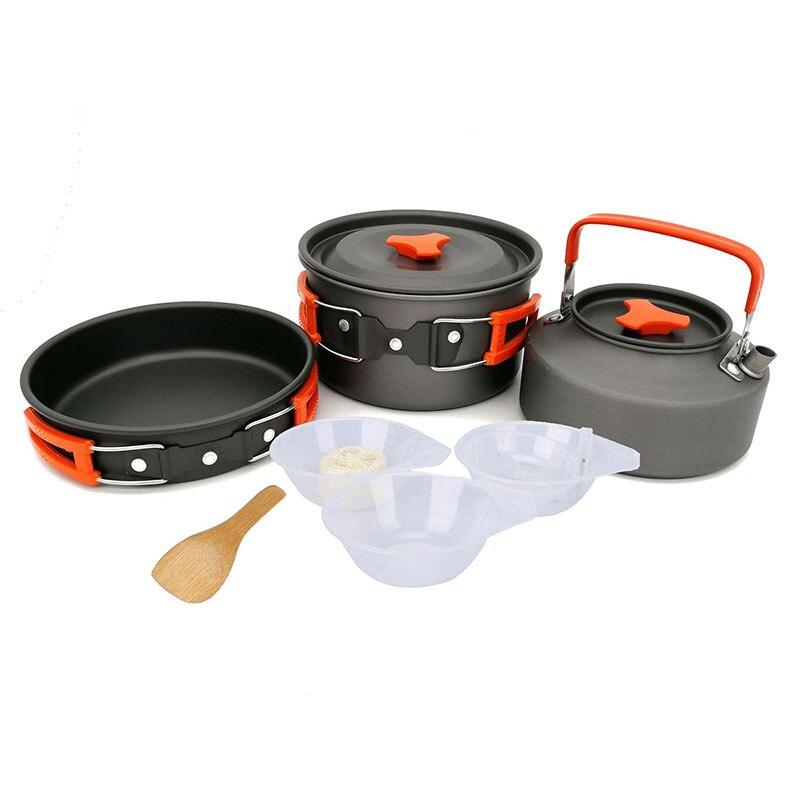 VILEAD nouveau Camping en plein air ensemble Pot théière combinaison 2-3 personnes Pot avec vaisselle bol soupe et riz cuillère Loofah Ball
