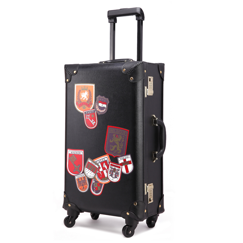 Wholesale!20inches retro black/yellow pu leather travel luggage,uk fashion style universal wheels suitcase for men and women