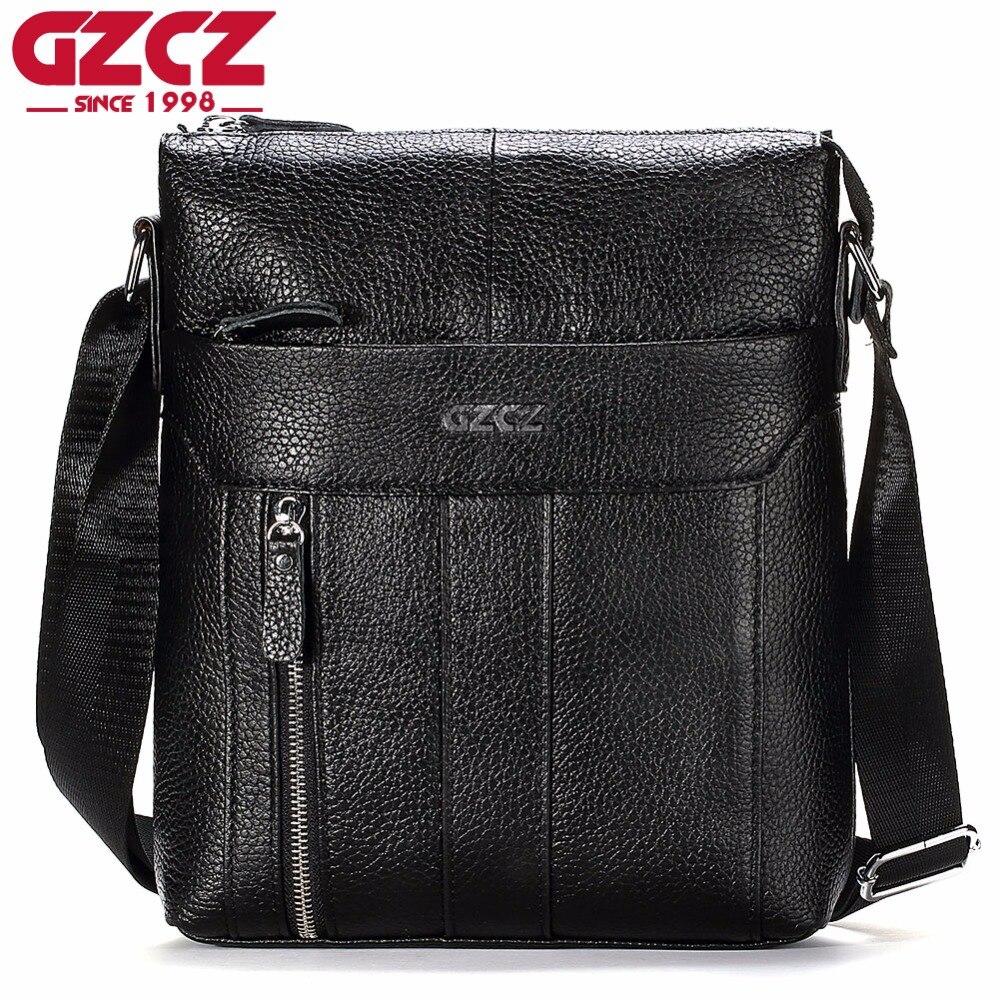 GZCZ nouveau sac Messenger hommes en cuir véritable homme sacs décontracté hommes fermeture éclair doux sac à bandoulière hommes sac à bandoulière cartables Portomonee