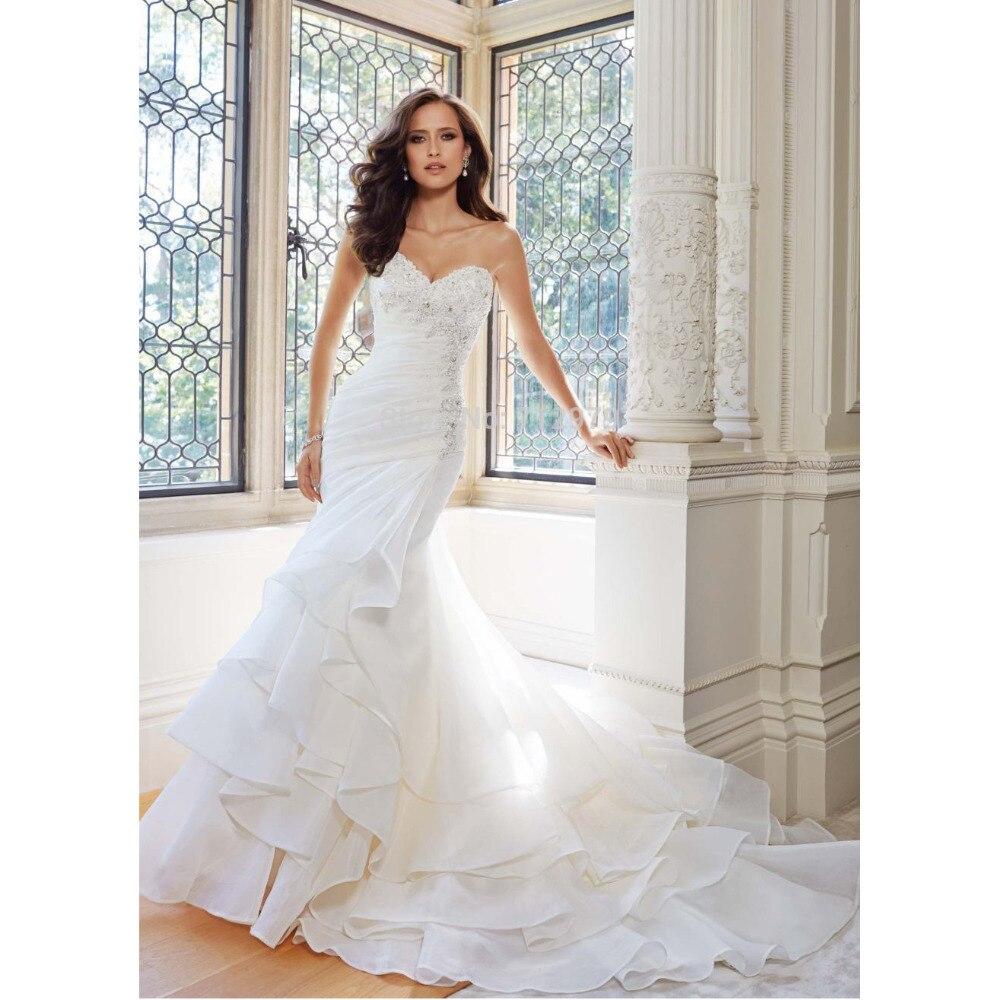 Cheap White Ivory Wedding Dresses Mermaid Lace Appliques: Vestido De Casamento 2017 Custom Made White/Ivory Organza