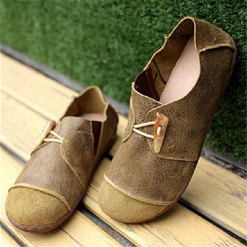 2016 Γυναικεία παπούτσια Ανοιξιάτικο καλοκαίρι Casual Γυναίκα Γνήσιο δέρμα Στερεό λουράκι λουράκι Vintage Κομψή μόδα