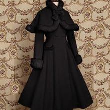 Lolita Coat Bow Plus Size Cashmere Women Coat Winter Opera Cape Cloak Hot Outwear Customized Sweet Female Pink Lolita Wool Coat