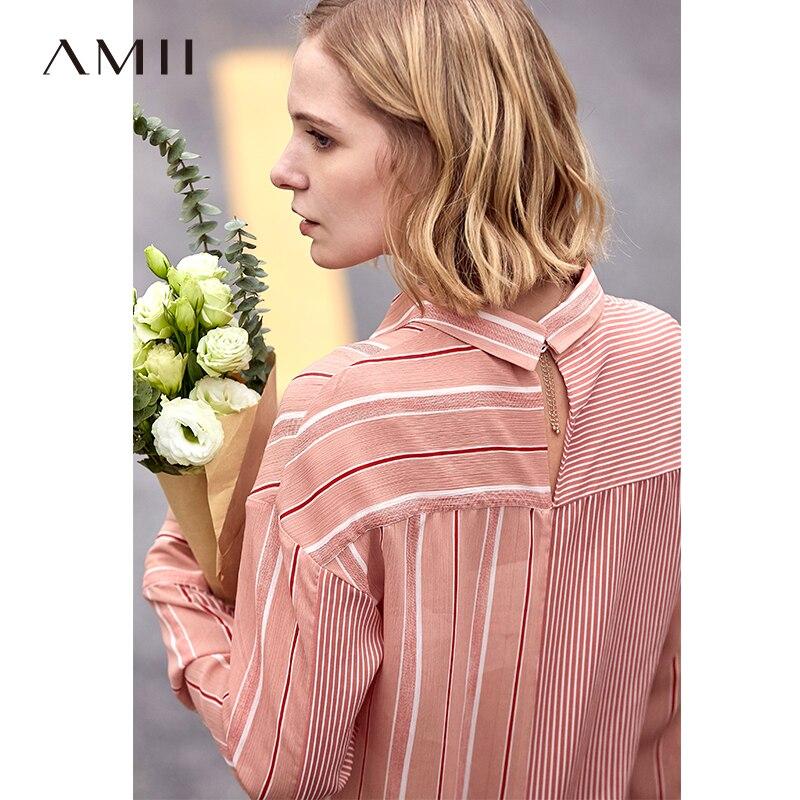 Amii Minimalist Chiffon Shirt Women 2019 Spring Casual Striped Patchwork Notched Collar Long Sleeve Office Female