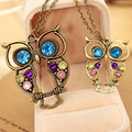 Hot Sale Crystal Owl Pendant Necklace Vintage Gold Long Chain Rhinestone Animal Necklace Women Costume Jewelry Gift Collier