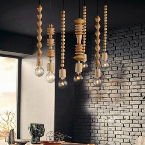 American Loft Style Wooden Droplight Modern Edison Pendant Light Fixtures For Dining Room Hanging Lamp Indoor Lighting american loft style hemp rope droplight edison vintage pendant light fixtures for dining room hanging lamp indoor lighting