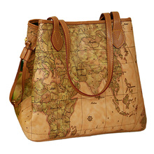 Frauen pu-leder handtaschen vintage druck karte tasche damen Neue berühmte marke frauen handtaschen Bolsas umhängetasche W16-86