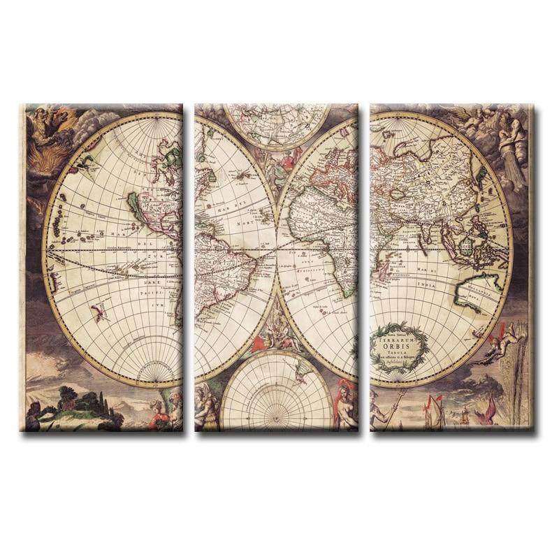 Старинная карта мира на холсте купить недорого